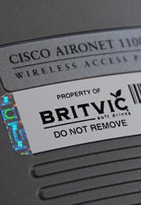 Photo of asset sticker on britvic wireless access point