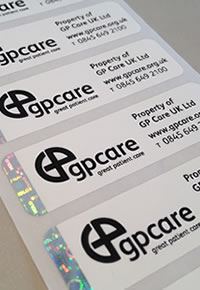 Photo showing an asset label on print server